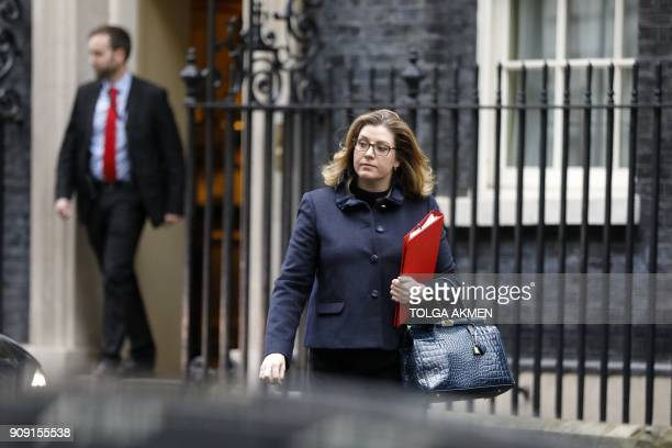 Britain's International Development Secretary Penny Mordaunt leaves after attending the weekly cabinet meeting at number 10 Downing Street in central...