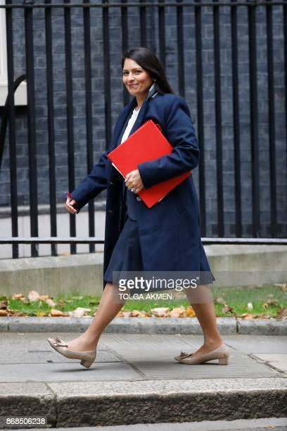 Britain's International Development Secretary Priti Patel arrives at 10 Downing Street for the weekly meeting of the cabinet in central London on...