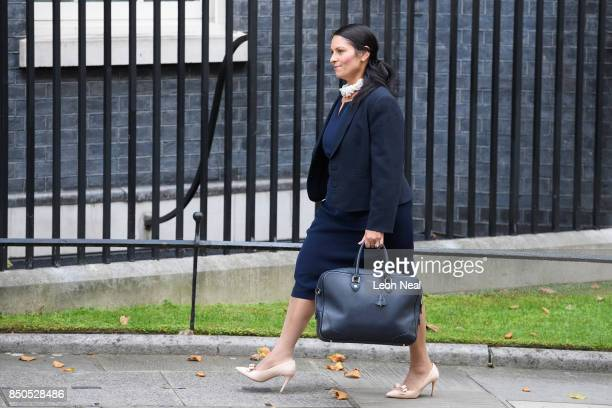 Britain's International Development Secretary Priti Patel arrives in Downing Street for a Cabinet meeting on September 21 2017 in London England The...