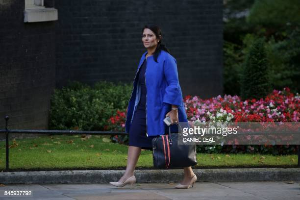 Britain's International Development Secretary Priti Patel arrives to attend the weekly meeting of the cabinet at Downing Street in central London on...