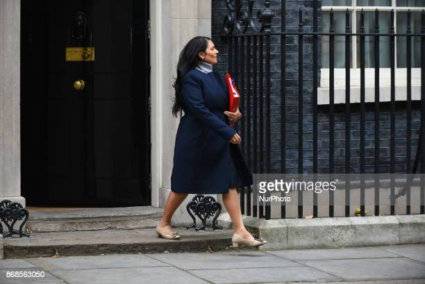 Britain's International Development Secretary Priti Patel leaves 10 Downing Street for the weekly meeting of the cabinet in central London on October...