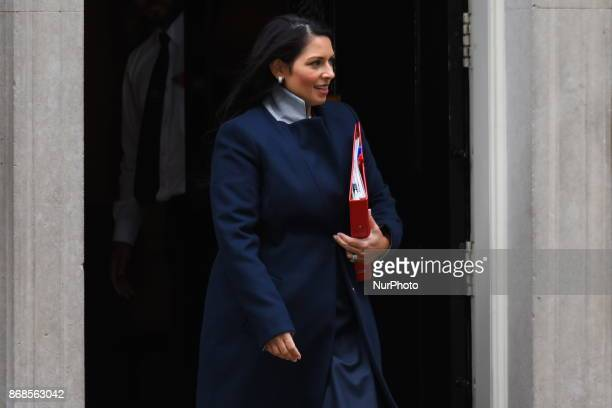 Britain's International Development Secretary Priti Patelleaves 10 Downing Street for the weekly meeting of the cabinet in central London on October...