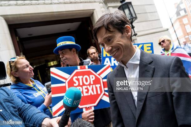 Britain's International Development Secretary Rory Stewart a contender for the Conservative Party leadership talks with members of the media as he...