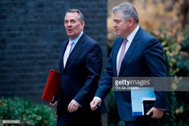 Britain's International Trade Secretary Liam Fox and Britain's Minister of State for Immigration Brandon Lewis arrives to attend the weekly meeting...