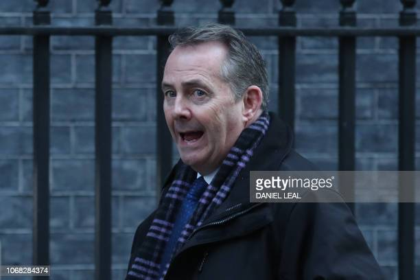 Britain's International Trade Secretary Liam Fox attends the weekly meeting of the cabinet at 10 Downing Street in London on December 4 2018