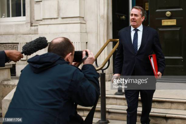 Britain's International Trade Secretary Liam Fox leaves the Cabinet Office in London England on April 8 2019 Talks between the Conservative and...