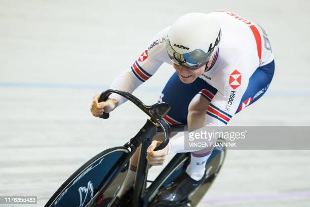 Britain's Jack Carlin competes during the 200meter time trial sprint qualification at the European Track Cycling Championships at the...