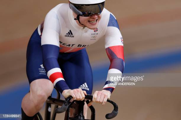 Britain's Jack Carlin competes in the men's track cycling sprint finals during the Tokyo 2020 Olympic Games at Izu Velodrome in Izu, Japan, on August...