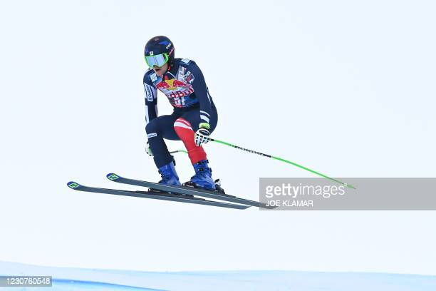 Britain's Jack Gower competes during the men's downhill event at the FIS Alpine Ski World Cup, also known as Hahnenkamm race, in Kitzbuehel, Austria,...