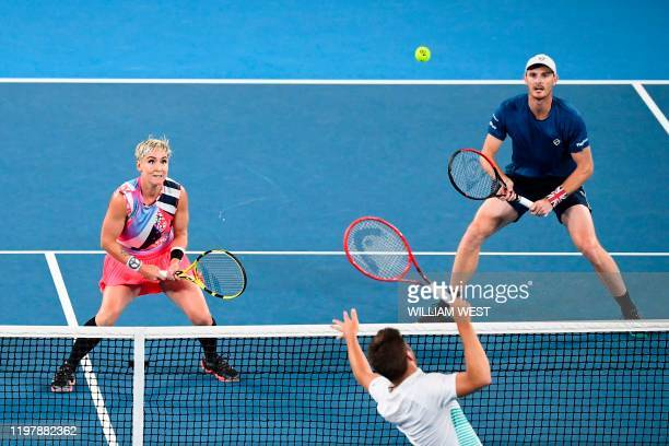Britain's Jamie Murray and Bethanie Mattek-Sands of the US play against Croatia's Nikola Mektic and Czech Republic's Barbora Krejcikova during their...