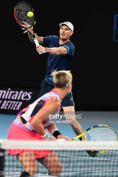 Britain's Jamie Murray and Bethanie Mattek-Sands of the US play against Croatia's Nikola Mektic and Czech Republic's Barbora Krejcikova during their...
