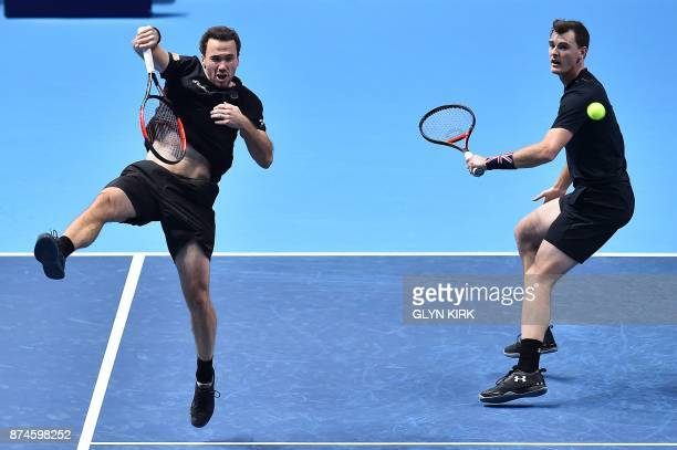 Britain's Jamie Murray and Brazil's Bruno Soares play against Croatia's Ivan Dodig and BosniaHerzegovina's Marcel Granollers during their men's...