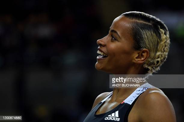 Britain's Jazmin Sawyers reacts after taking third place during the women's long jump final at the Müller Indoor Grand Prix Glasgow 2020 athletics in...