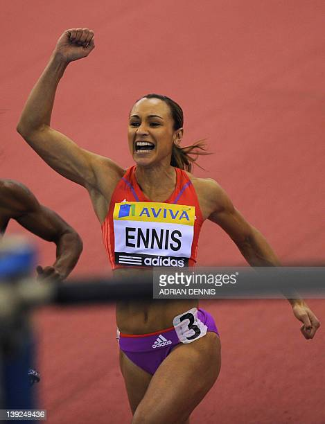 Britain's Jessica Ennis celebrates her victory in the Women's 60m hurdles at the Aviva Grand Prix at The National Indoor Arena in Birmingham on...