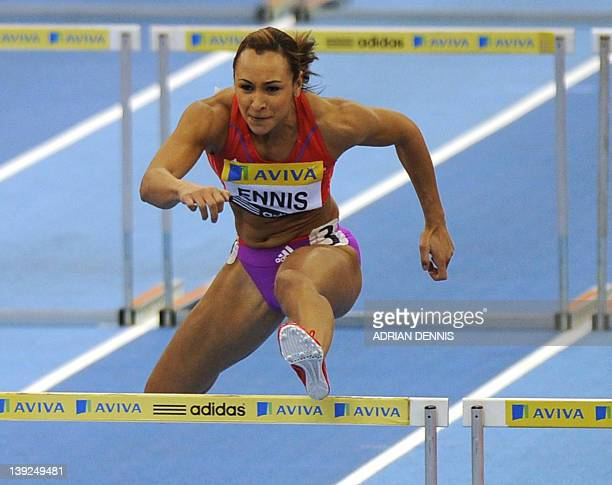 Britain's Jessica Ennis on her way to victory in the Women's 60m hurdles at the Aviva Grand Prix at The National Indoor Arena in Birmingham on...