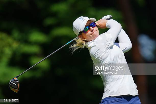 Britain's Jodi Shadoff watches her drive from the 18th tee in round 1 of the womens golf individual stroke play during the Tokyo 2020 Olympic Games...