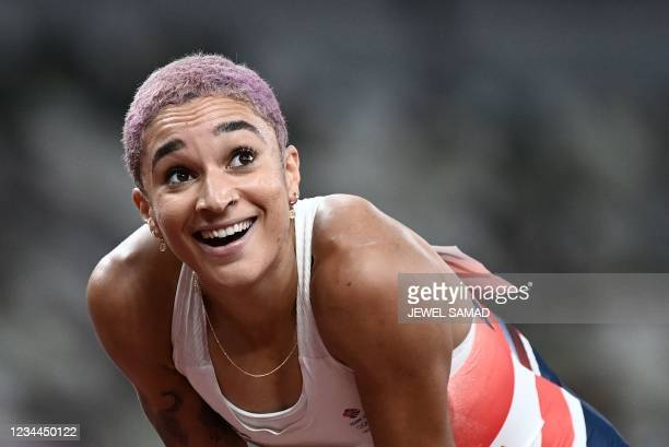 Britain's Jodie Williams reacts after competing in the women's 400m semi-finals during the Tokyo 2020 Olympic Games at the Olympic Stadium in Tokyo...