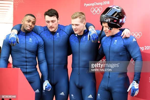Britain's Joel Fearon Nick Gleeson Brad Hall and Greg Cackett react after the 4man bobsleigh heat 4 final run during the Pyeongchang 2018 Winter...