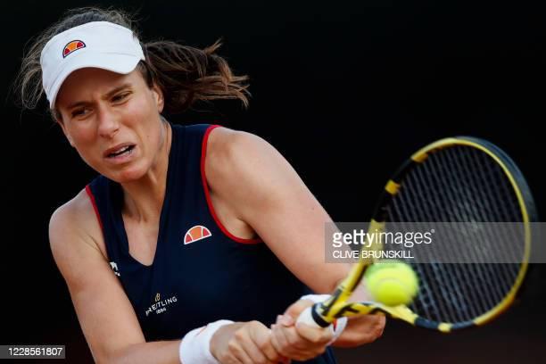 Britain's Johanna Konta plays a backhand to Romania's Irina-Camelia Begu on day four of the Women's Italian Open at Foro Italico on September 17,...