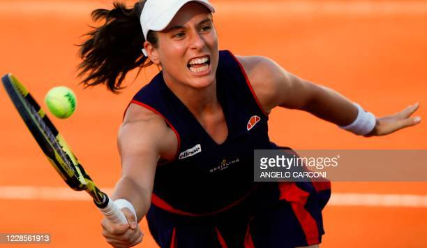 Britain's Johanna Konta plays a forehand to Romania's Irina-Camelia Begu on day four of the Women's Italian Open at Foro Italico on September 17,...