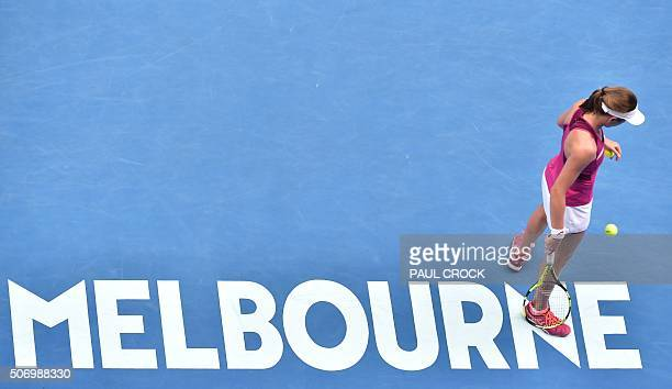 Britain's Johanna Konta prepares to serve against China's Zhang Shuai during in their women's singles on day ten of the 2016 Australian Open tennis...