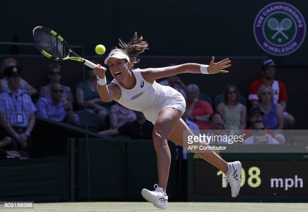 TOPSHOT Britain's Johanna Konta returns against Croatia's Donna Vekic during their women's singles second round match on the third day of the 2017...