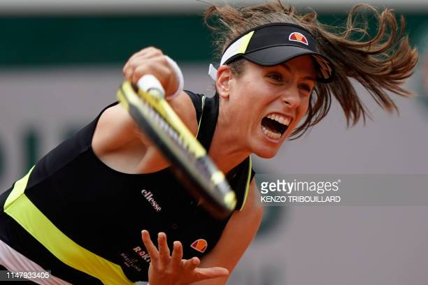 TOPSHOT Britain's Johanna Konta serves the ball to Sloane Stephens of the US during their women's singles quarterfinal match on day ten of The Roland...