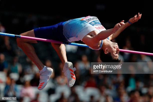 Britain's Jonathan BroomEdwards competes in the Men's High Jump T44 Final during the World Para Athletics Championships in London on July 22 2017 /...