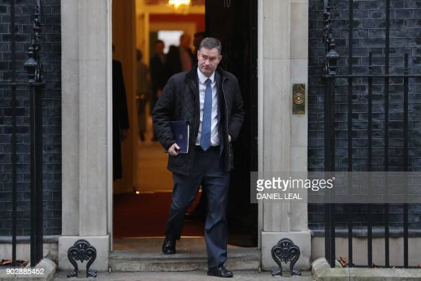Britain's Justice Secretary and Lord Chancellor David Gauke leaves 10 Downing street in central London after the first cabinet meeting of the new...