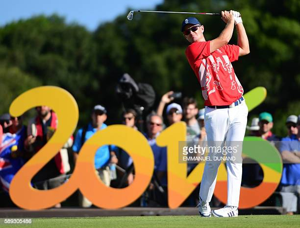 Britain's Justin Rose competes in the men's individual stroke play at the Olympic Golf course during the Rio 2016 Olympic Games in Rio de Janeiro on...