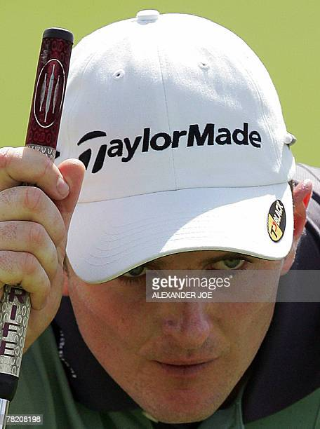 Britain's Justin Rose lines up a shot on the 18th during the final day of the Nedbank Golf Challenge in Sun City South Africa 02 December 2007 Rose...