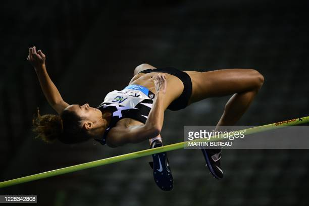 Britain's Katarina Johnson-Thompson competes during the women's high jump event at The Diamond League AG Memorial Van Damme athletics meeting at The...