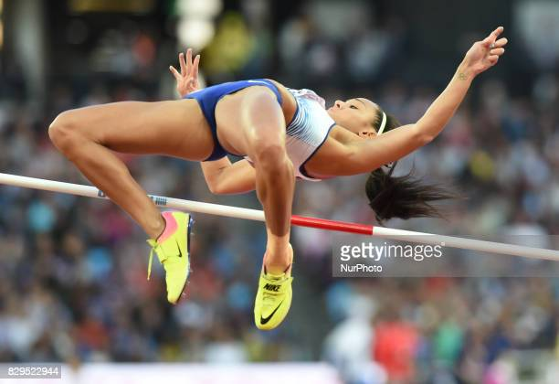 Britain's Katarina JohnsonThompson competes during the women's high jump athletics event at the 2017 IAAF World Championships at the London Stadium...