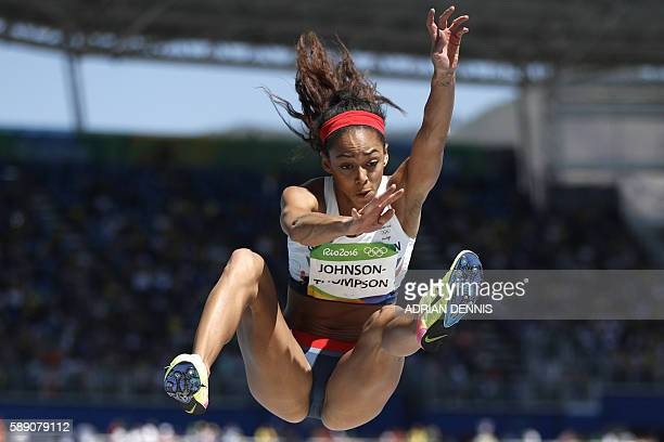 Britain's Katarina JohnsonThompson competes in the Women's Heptathlon Long Jump during the athletics event at the Rio 2016 Olympic Games at the...