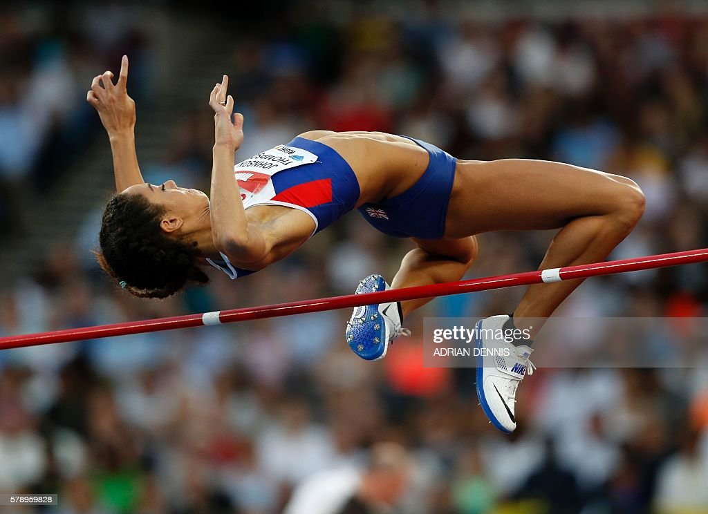 Britain's Katarina Johnson-Thompson competes in the women's High Jump at the IAAF Diamond League Anniversary Games athletics meeting at the Queen Elizabeth Olympic Park stadium in Stratford, east London on July 22, 2016. / AFP / Adrian DENNIS