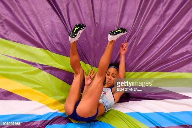 Britain's Katarina JohnsonThompson competes in the women's high jump pentathlon event at the 2018 IAAF World Indoor Athletics Championships at the...