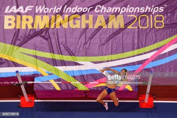 Britain's Katarina Johnson-Thompson competes in the women's high jump pentathlon event at the 2018 IAAF World Indoor Athletics Championships at the...
