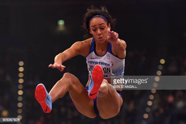 Britain's Katarina JohnsonThompson competes in the women's long jump pentathlon event at the 2018 IAAF World Indoor Athletics Championships at the...