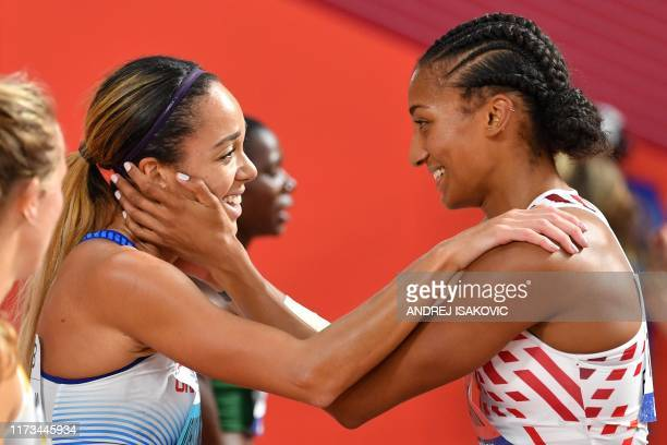 Britain's Katarina JohnsonThompson is congratulated by Belgium's Nafissatou Thiam after the Women's 800m Heptathlon final at the 2019 IAAF Athletics...