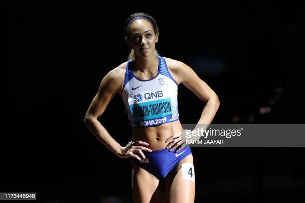 TOPSHOT Britain's Katarina JohnsonThompson prepares to compete in the Women's 800m Heptathlon final at the 2019 IAAF Athletics World Championships at...