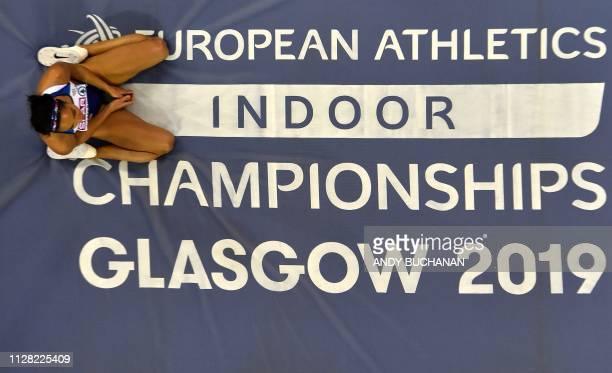 Britain's Katarina JohnsonThompson reacts after a failure in the womens high jump pentathlon event at the 2019 European Athletics Indoor...
