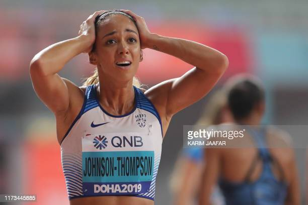 Britain's Katarina JohnsonThompson reacts after winning the Women's 800m Heptathlon final at the 2019 IAAF Athletics World Championships at the...