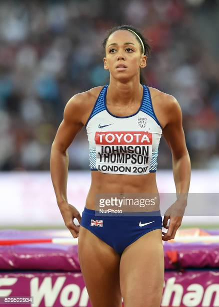 Britain's Katarina JohnsonThompson reacts during the women's high jump athletics event at the 2017 IAAF World Championships at the London Stadium in...