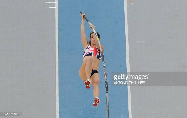 Britain's Kate Dennison competes in the women's pole vault qualification round at the International Association of Athletics Federations World...
