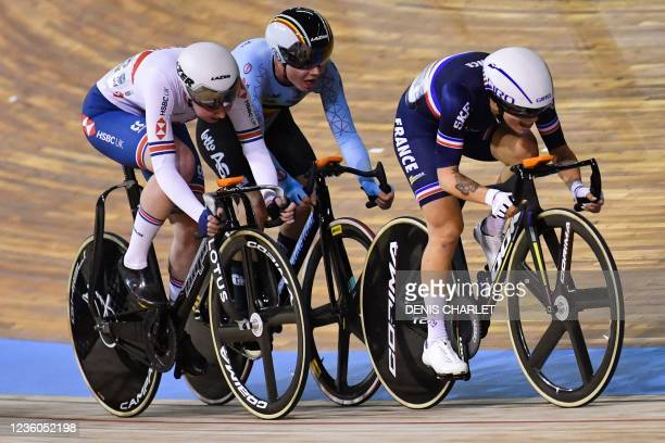 Britain's Katie Archibald, Belgium's Lotte Kopecky and France's Clara Copponi compete in the women's Omnium Elimination Race 3/4 during the UCI Track...