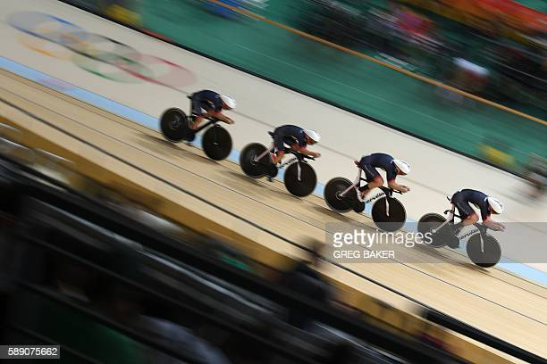 Britain's Katie Archibald Britain's Elinor Barker Britain's Joanna RowsellShand and Britain's Laura Trott cycle during the women's Team Pursuit first...