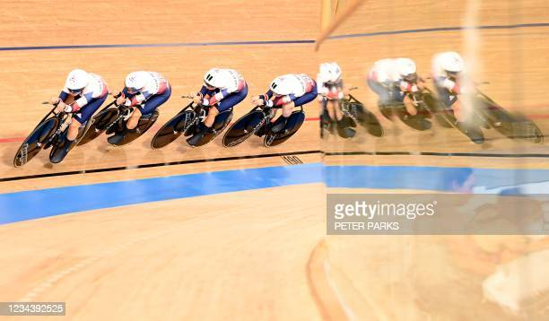 Britain's Katie Archibald, Britain's Laura Kenny, Britain's Elinor Barker and Britain's Josie Knight compete in the women's track cycling team...