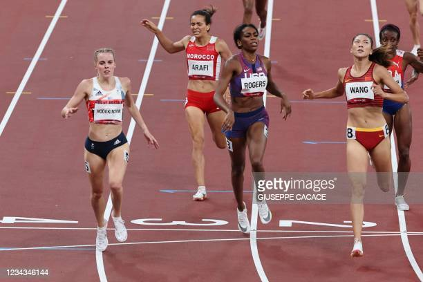 Britain's Keely Hodgkinson wins the women's 800m semi-final during the Tokyo 2020 Olympic Games at the Olympic Stadium in Tokyo on July 31, 2021.
