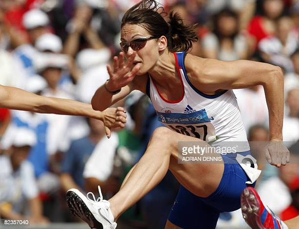 Britain's Kelly Sotherton competes during the women's Heptathlon 100m Hurdles heats at the National stadium as part of the 2008 Beijing Olympic Games...