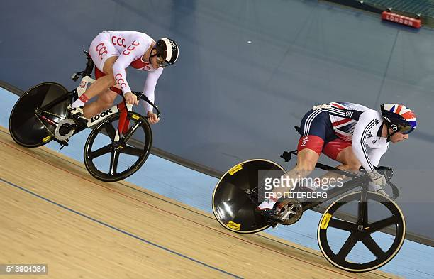 Britain's Kenny Jason races Poland's Damian Zielinski in the Men's Sprint semifinals during the 2016 Track Cycling World Championships at the Lee...